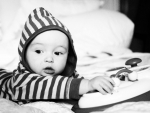 baby in stripes