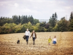 family walking towards camera