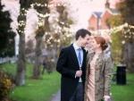 bride and groom fairy lights